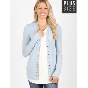 Plus Size Light Blue Button Down Cardigan NEW